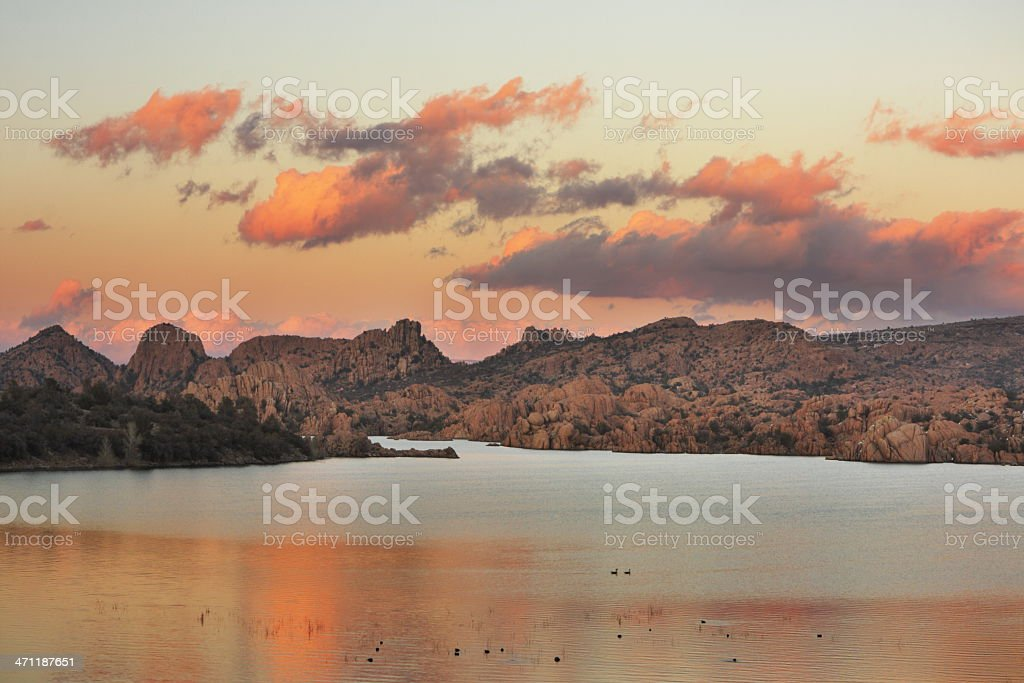 Sunset Wilderness Lake Alpenglow stock photo