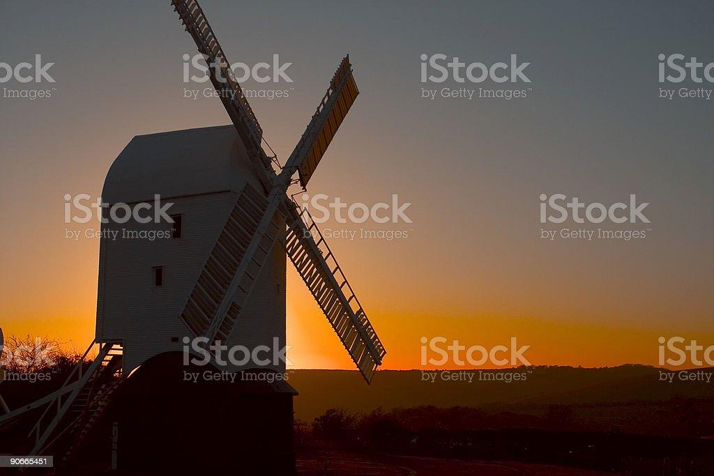 Sunset windmill royalty-free stock photo