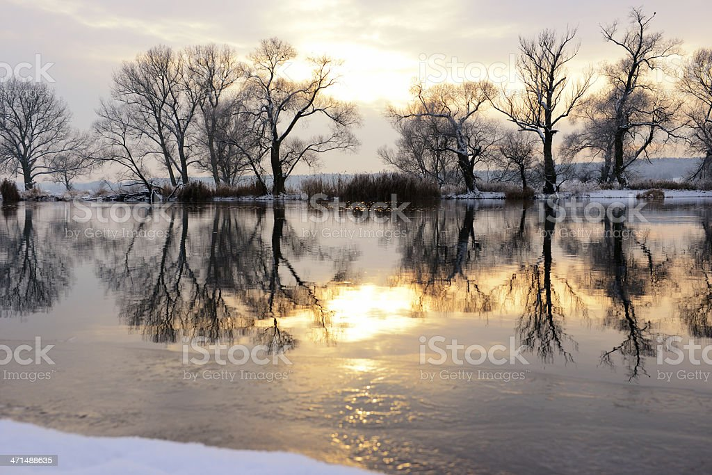 Sunset winter landscape at Havel River (Germany) royalty-free stock photo
