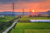 Sunset with a transmission tower