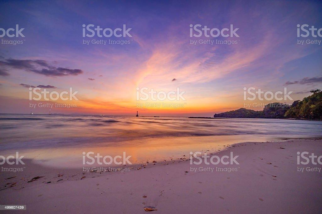 Sunset with Beach stock photo