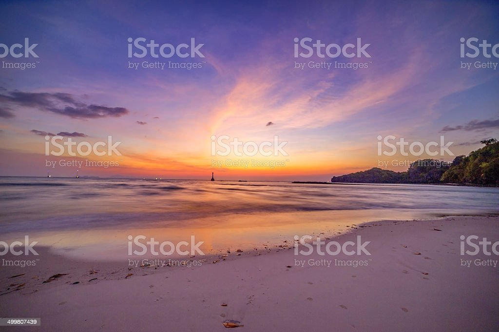 Sunset with Beach stock photo
