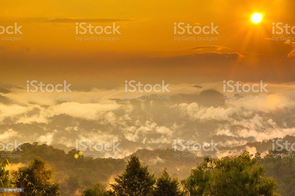sunset with beautiful landscape stock photo