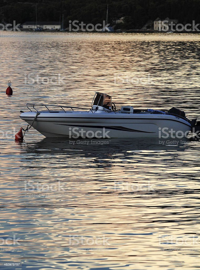 Sunset with boat stock photo