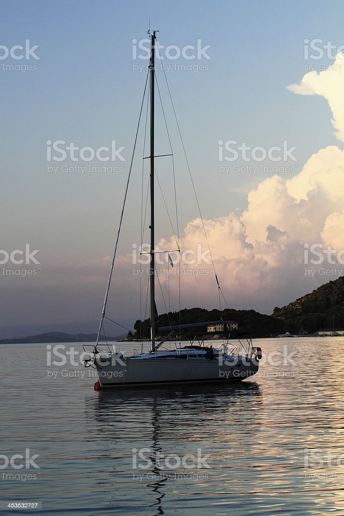 Sunset with boat royalty-free stock photo