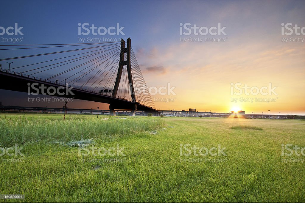 sunset with bridge royalty-free stock photo