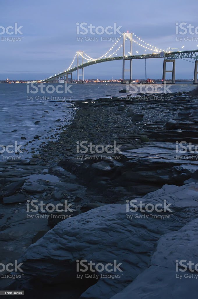 Sunset with Claiborne Pell Bridge in Background stock photo