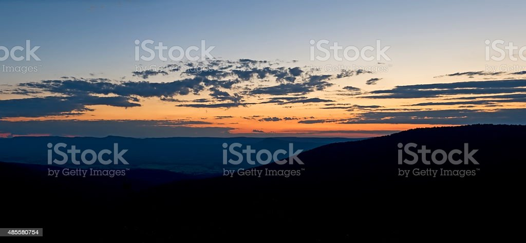 Sunset With Clouds, From Skyline Drive stock photo