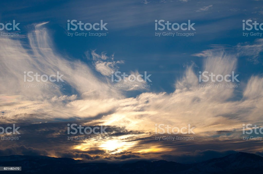 Sunset With Clouds Over Wenatchee, Washington stock photo