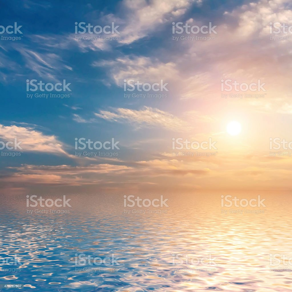 Sunset with clouds. stock photo