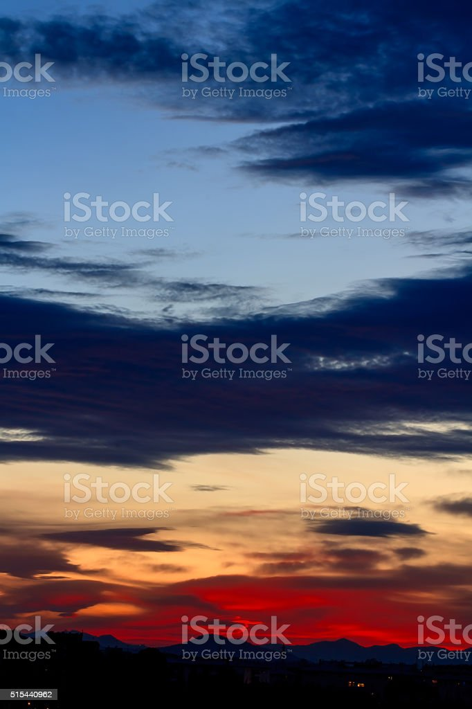 Sunset with clouds stock photo