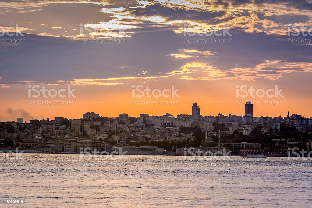 Sunset with dramatic sky over Istanbul, Turkey stock photo