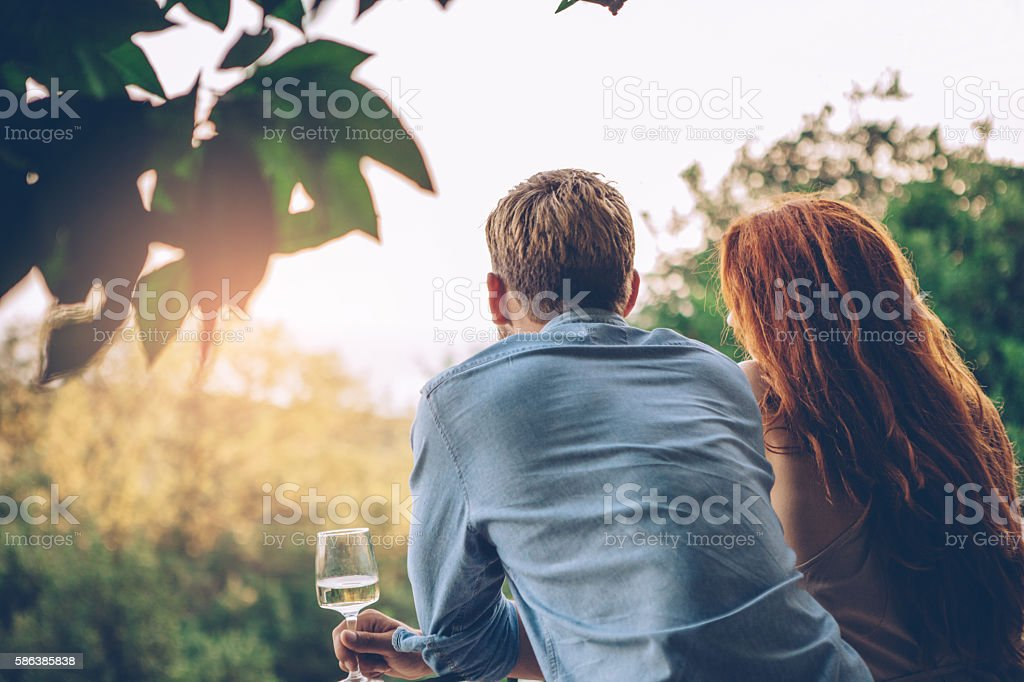 Sunset with him! stock photo