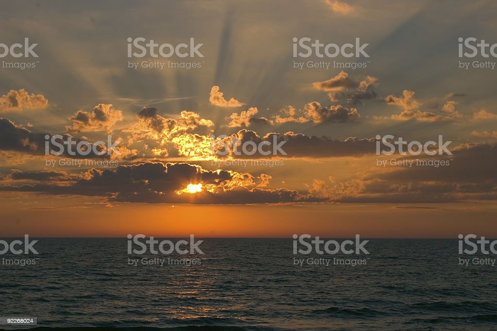 Sunset with Rays of Light royalty-free stock photo
