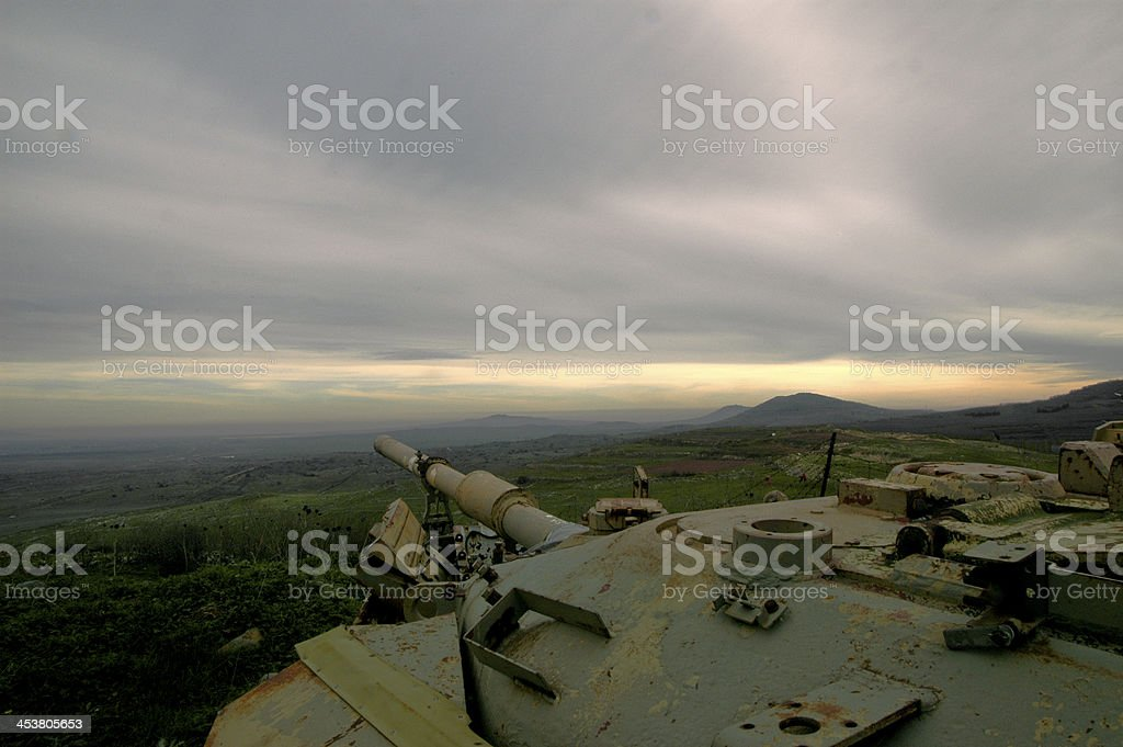 Sunset with Tank in Israel stock photo