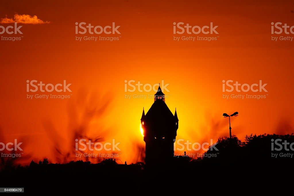 sunset with the tower stock photo