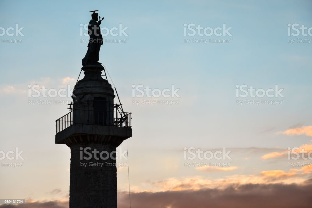 Sunset with the Trajan's Column stock photo