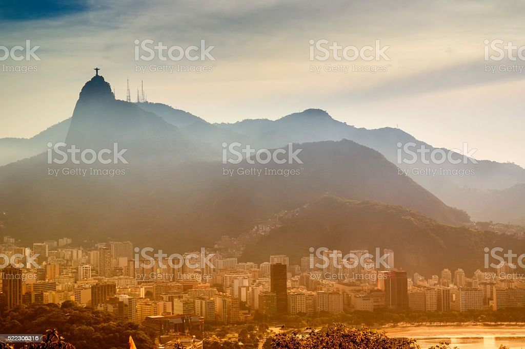 Sunset with view of Rio de Janeiro, Brazil stock photo
