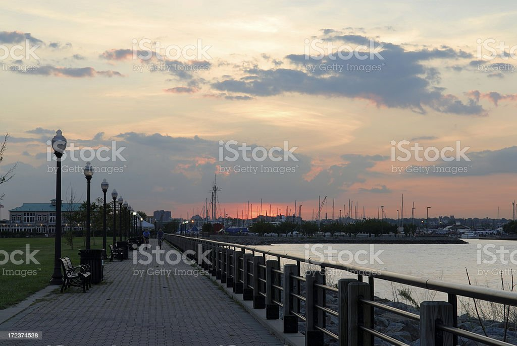 Sunset with Walkpath royalty-free stock photo