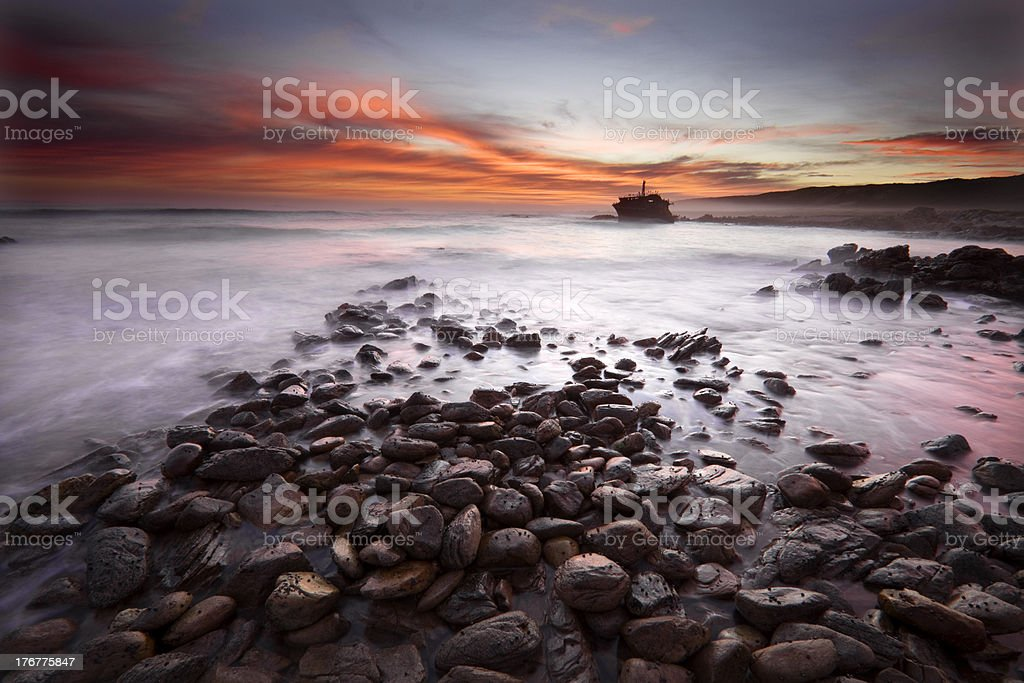 Sunset wreck at the most southern point of Africa royalty-free stock photo