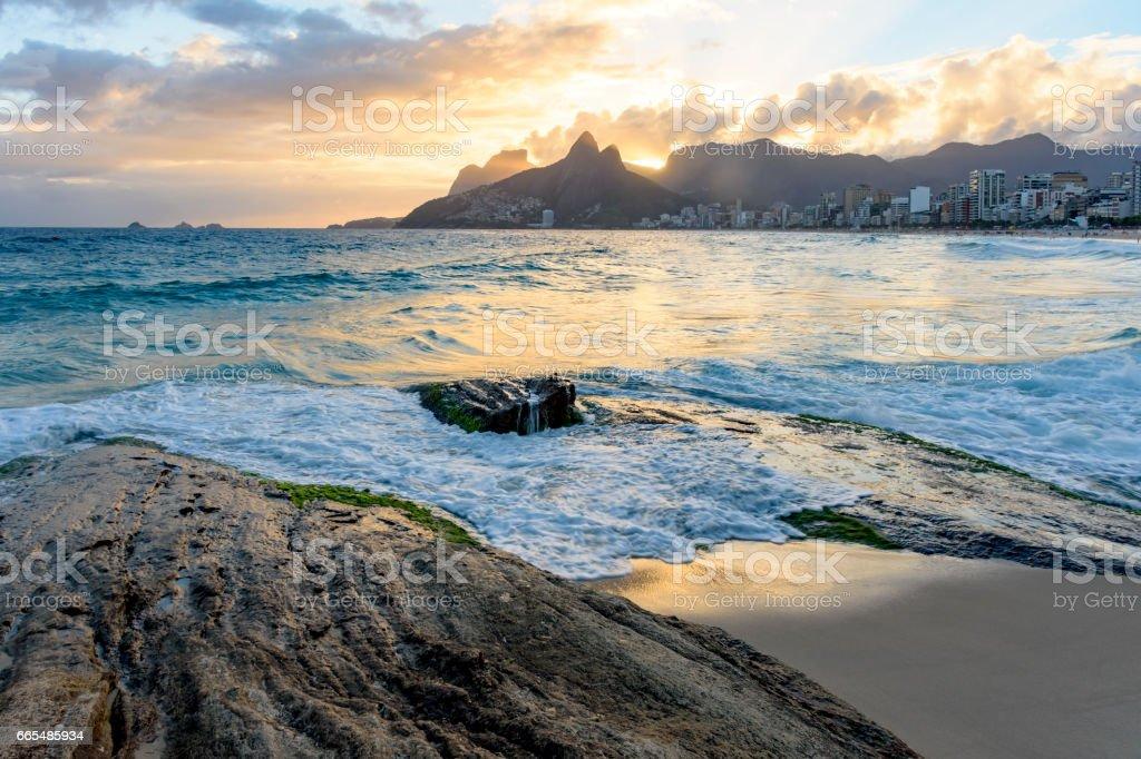 Sunsetat Arpoador beach in Ipanema Rio de Janeiro stock photo