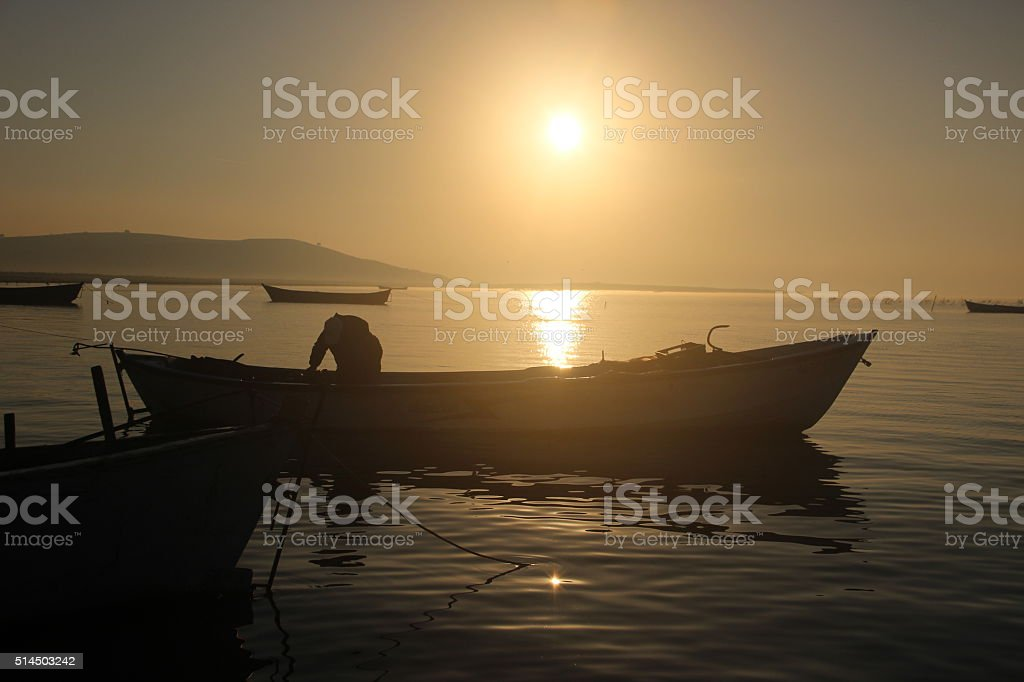 Sunset,Fishing Boat,Fisherman stock photo
