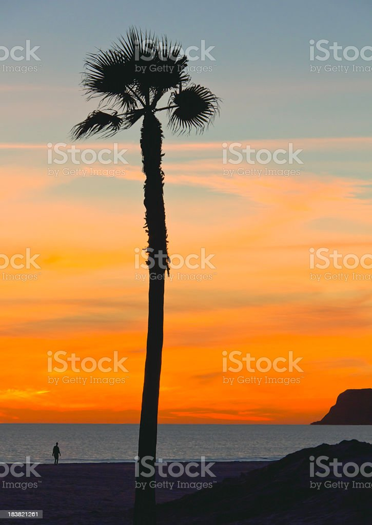Sunset's afterglow in San Diego. (P) stock photo