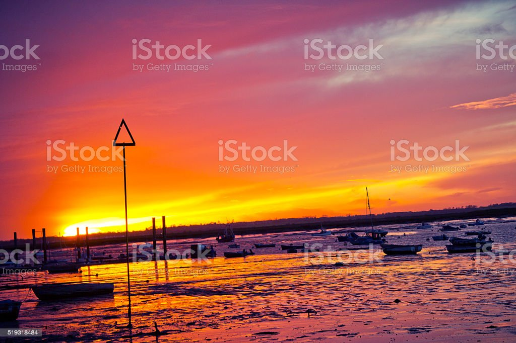 Sunsets in Mersea Island, Essex stock photo