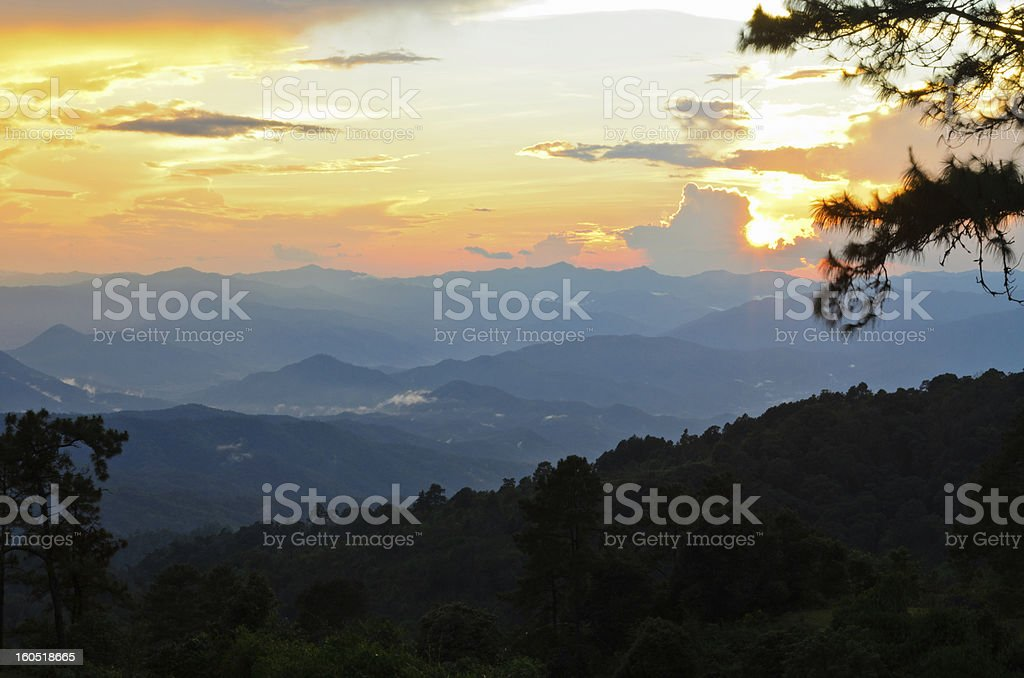 Sunsets on the mountain.. stock photo