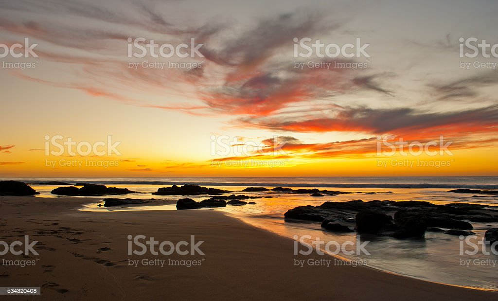 Sunsets over El Cotillo stock photo
