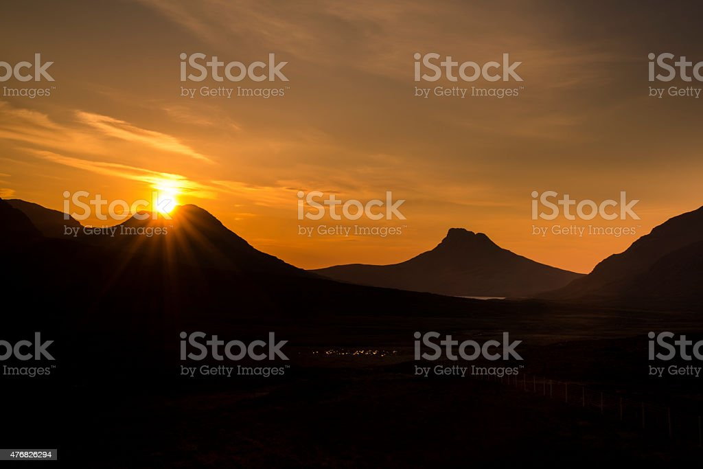 Sunsetting Over Coigach stock photo