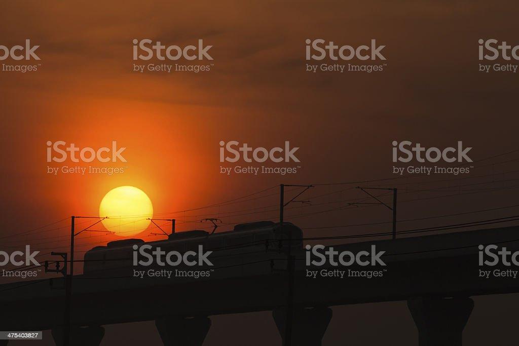 Sunset & Transport Lizenzfreies stock-foto