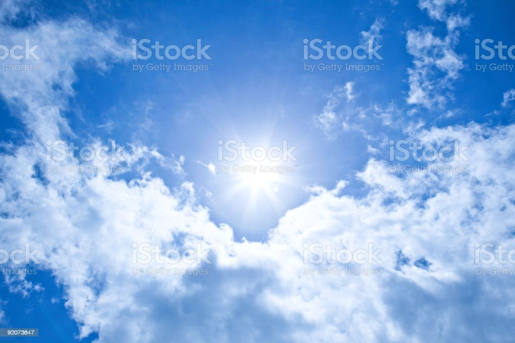 XXXL Sunshine background with clear blue sky royalty-free stock photo