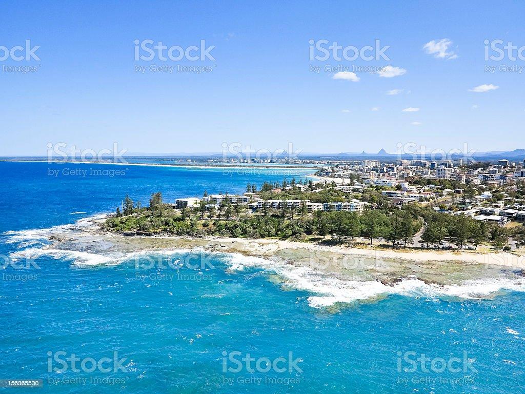 Sunshine coast aerial shot-Caloundra stock photo
