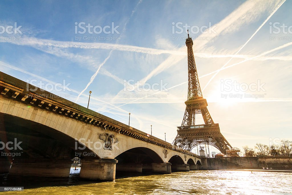 Sunshine Eiffel bridge stock photo