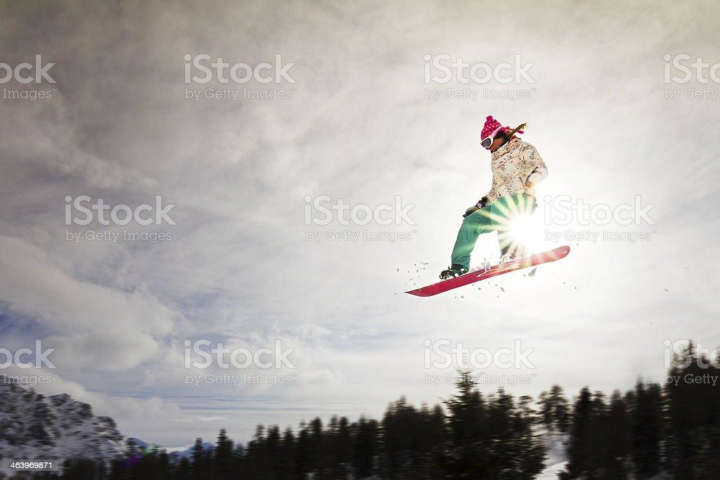 Sunshine jump stock photo