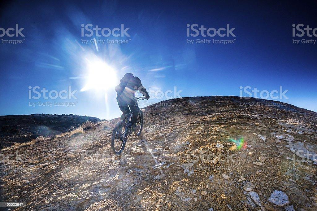 sunshine mountain biking royalty-free stock photo