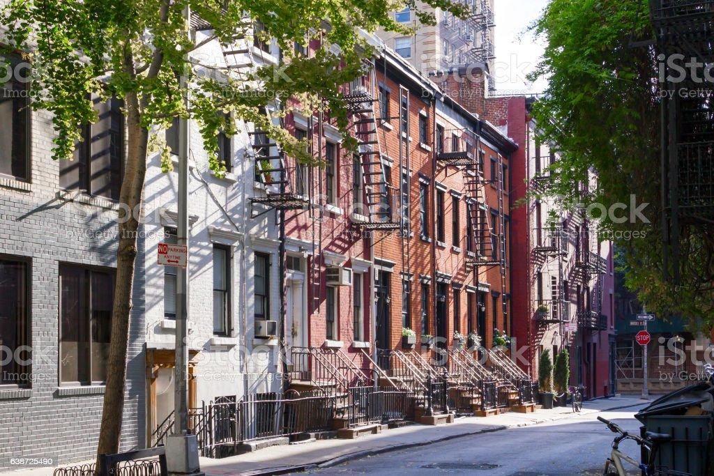Sunshine on Gay Street in Greenwich Village New York City stock photo