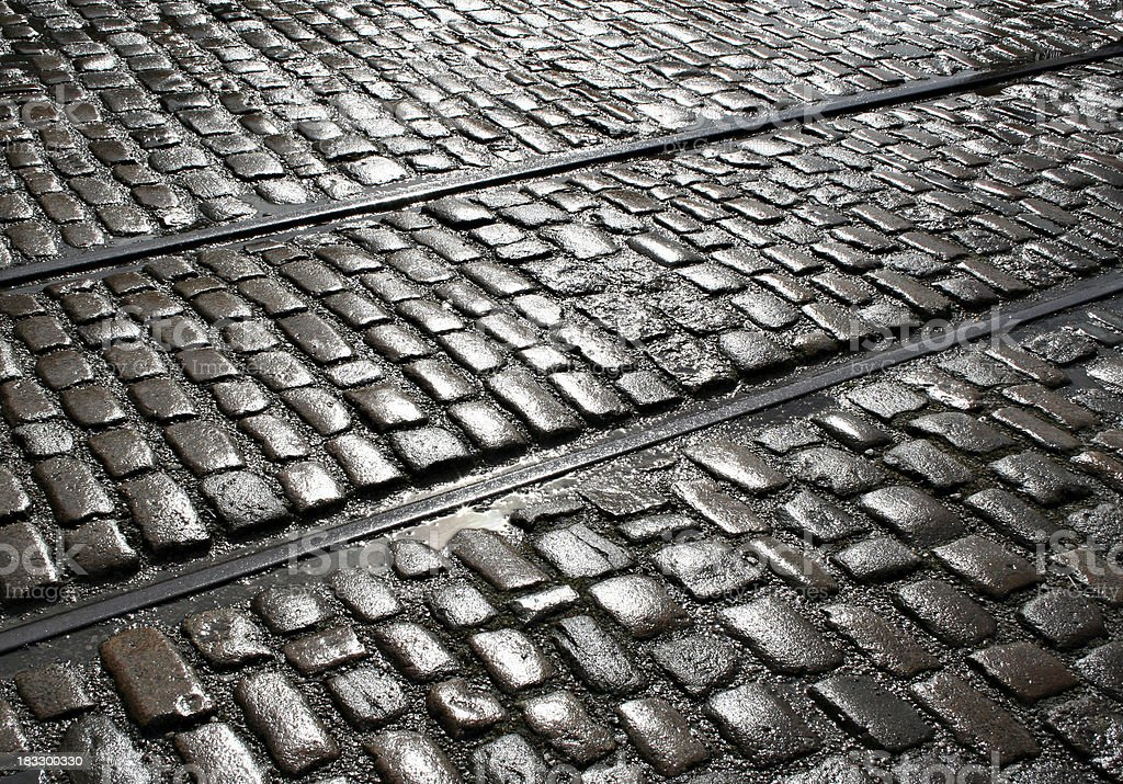 Sunshine on Wet Cobblestones stock photo