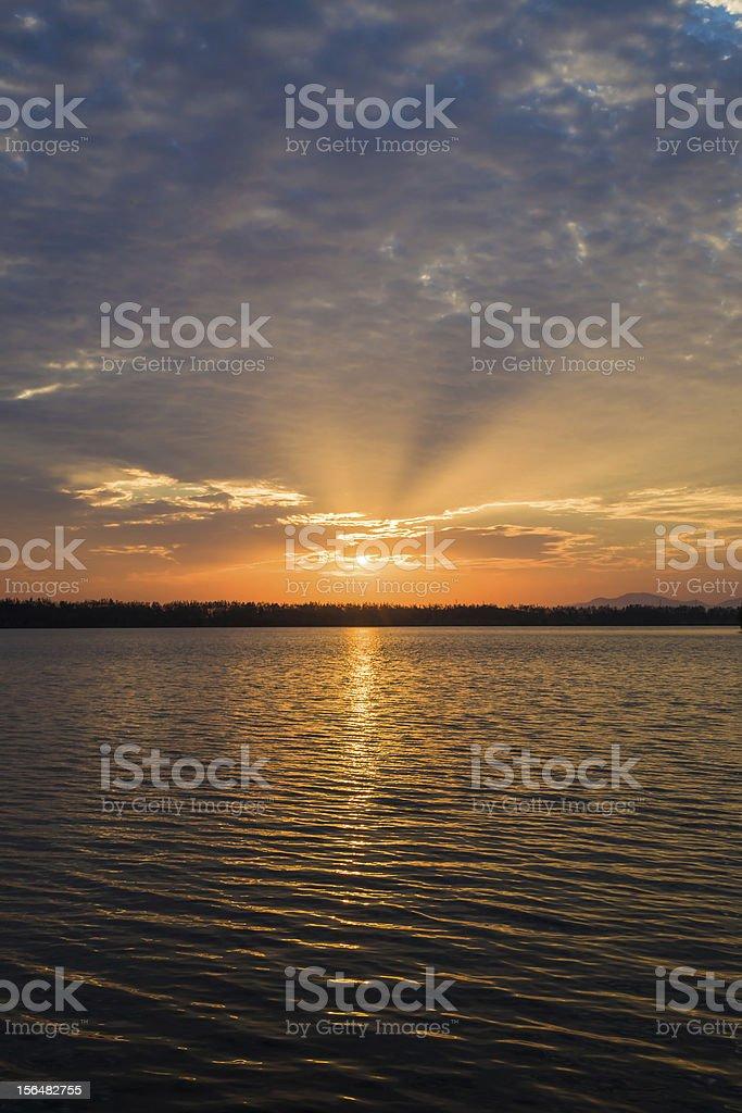 sunshine over lake royalty-free stock photo
