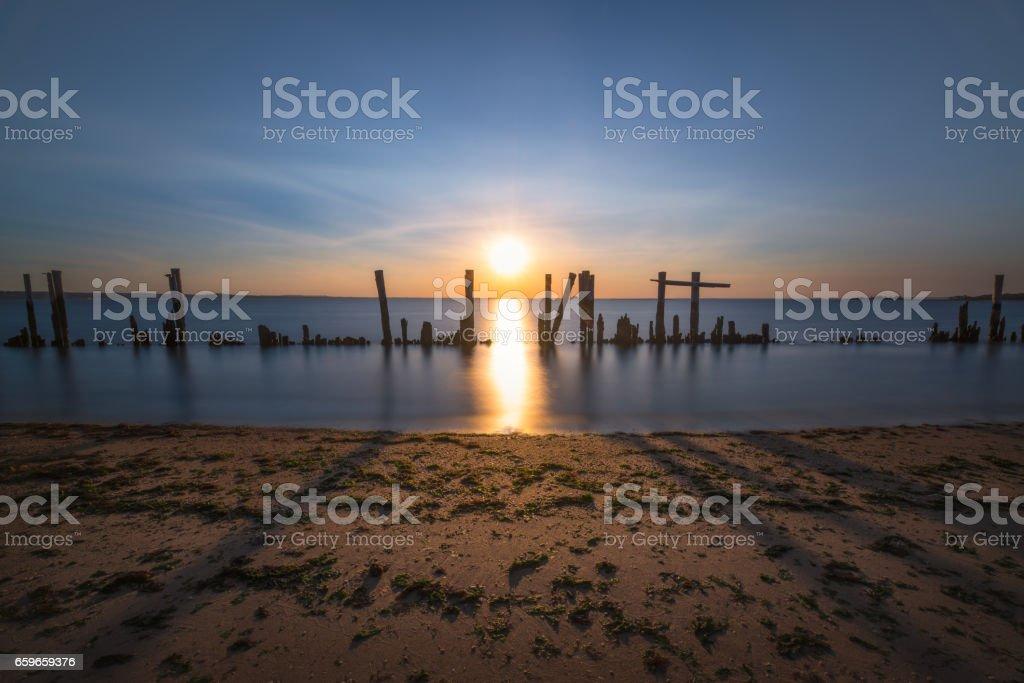 Sunshine shadows along the bay stock photo