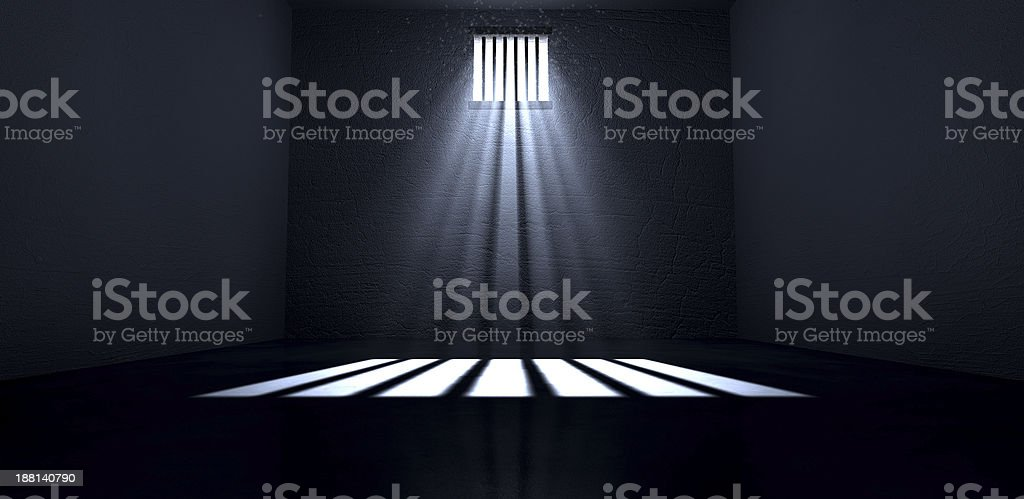 Sunshine Shining In Prison Cell Window stock photo