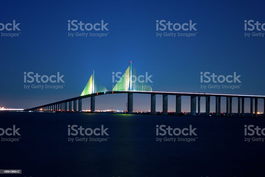 Sunshine Skyway Bridge at night stock photo
