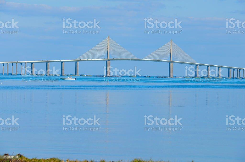 Sunshine Skyway Bridge over Tampa Bay Florida stock photo