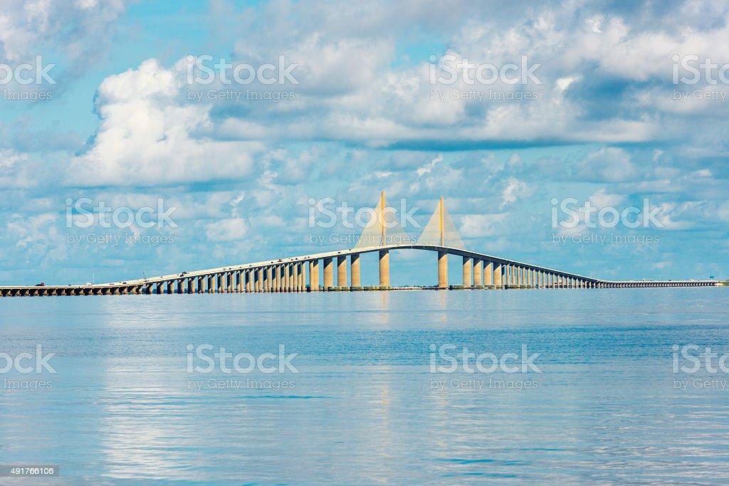 Sunshine Skyway Bridge over Tampa bay in Florida stock photo