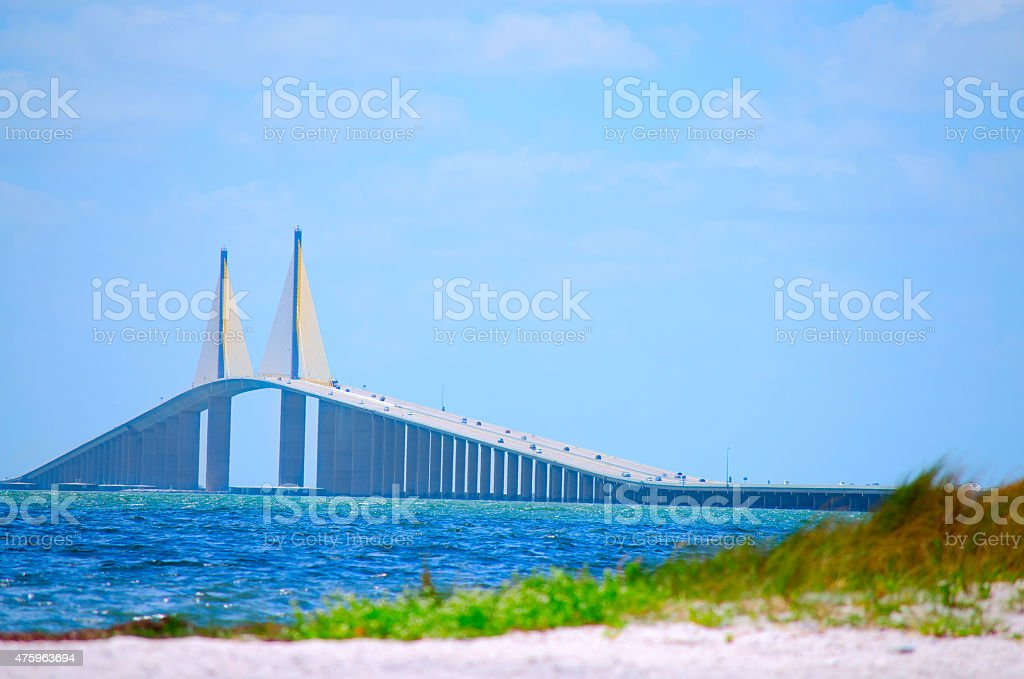 Sunshine Skyway Bridge with beach Tampa Bay Florida USA stock photo