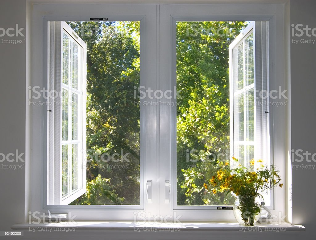 sunsplashed window stock photo