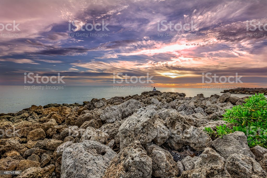 Sunst over the Ocean stock photo