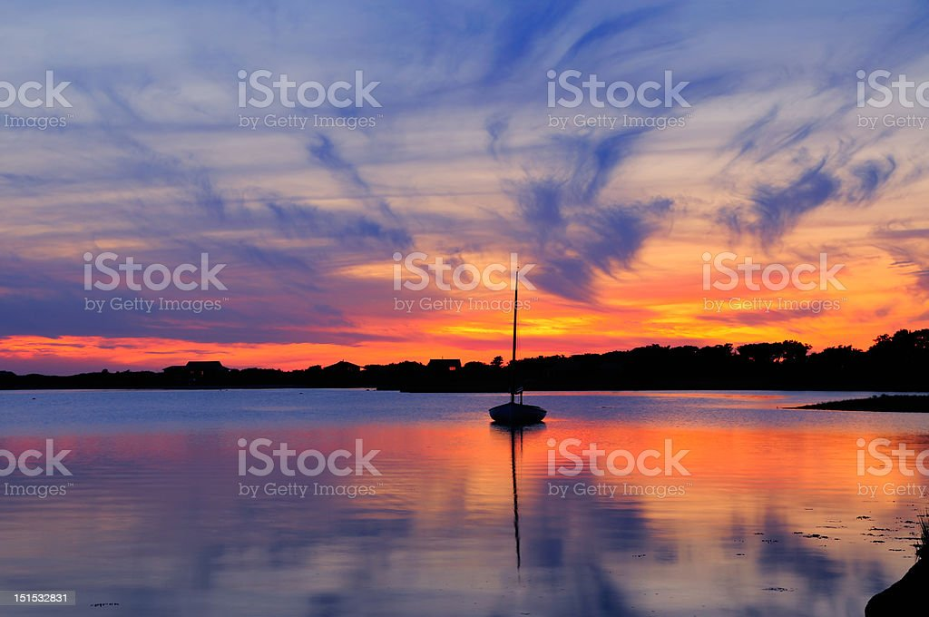 Sunstet and sailboat in Martha's Vineyard stock photo
