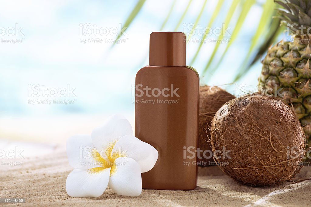 Suntan lotion, coconuts and plumeria flower with copy space stock photo